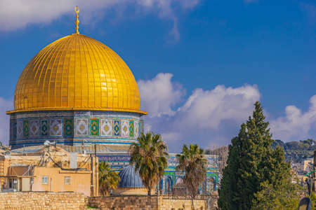 Close up of the Dome of the Rock in Jerusalem, Israel 스톡 콘텐츠