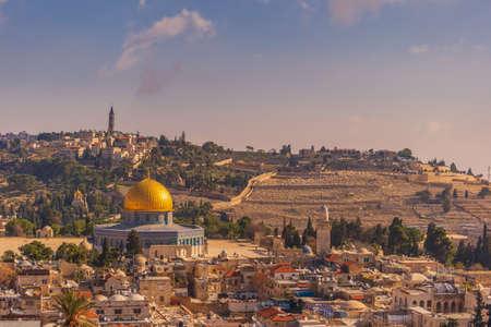 Jerusalem old town skyline with the Mount of Olives