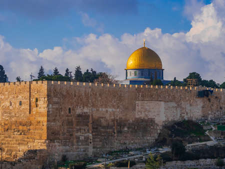 Jerusalem city walls dominated by the Dome of the Rock