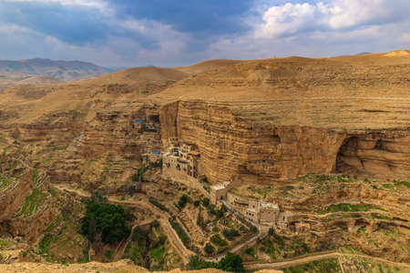 St. George Orthodox Monastery cliff-hanging complex, with its ancient chapel and gardens Stock Photo