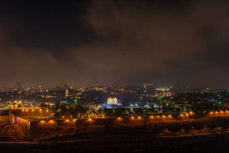 Jerusalem old town skyline illuminated at night