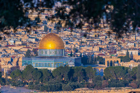 Close up of the Dome of the Rock in the center of old town Jerusalem