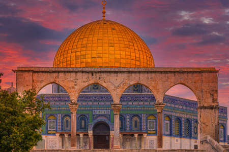 Dome of the Rock on the Temple Mount in Jerusalem at sunrise