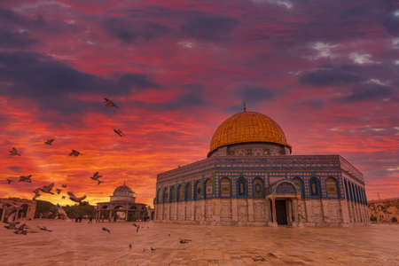 Amazing red sky over the Dome of the Rock Shrine