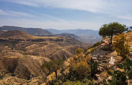 View from Debre Damo montain in Tigray region, Ethiopia.