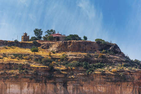 Close up view of Debre Damo montain with the monastry on top - Tigray region, Ethiopia.