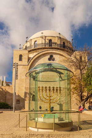 Jerusalem, Israel - ca. January 2020: Newly renovated Hurva synagogue in the old city of Jerusalem replaces the ancient destroyed synagogue Editorial