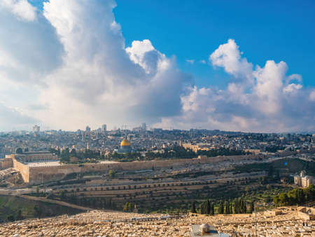 Panorama of the Temple Mount, including Al-Aqsa Mosque, and Dome of the Rock, Jerusalem Stock Photo