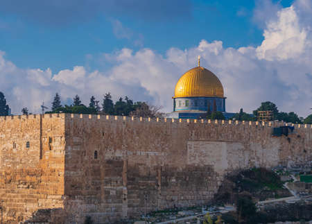 Temple Mount with the Dome of the Rock in Jerusalem, Israel Stock Photo