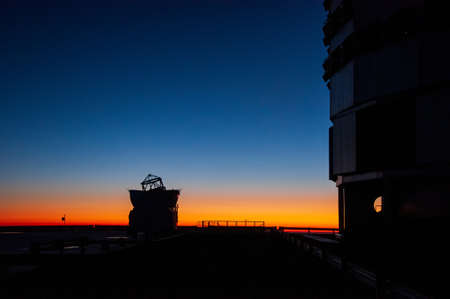 Telescopes located on Cerro Paranal in the middle of the Atacama desert at dusk