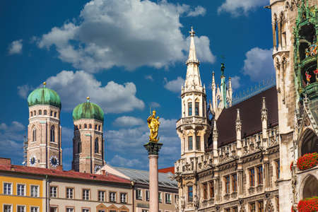 Frauenkirche and New Town Hall in Munich, Germany