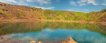 Panoramic view of Kerid volcanic crater lake in Iceland. Archivio Fotografico
