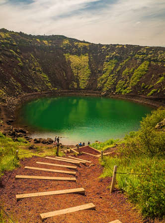 Kerid volcanic crater lake in Iceland.