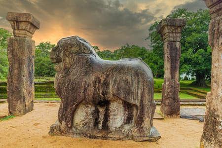 Lion statue in the ancient city of Polonnaruwa, Sri Lanka