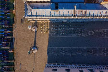 Top down view to an empty Piazza San Marco in Venice Archivio Fotografico
