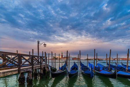 Gondolas floating in the Grand Canal, Venice - Italy Archivio Fotografico