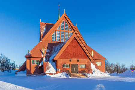 Kiruna church or Kiruna kyrka with beautiful blue sky - Sweden Archivio Fotografico