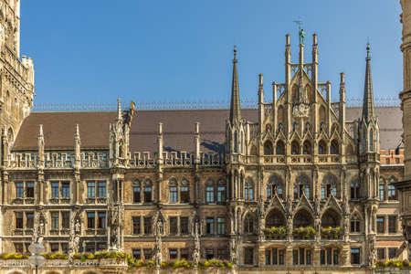 Facade of the Town Hall at Marienplatz - Munich, Germany Archivio Fotografico