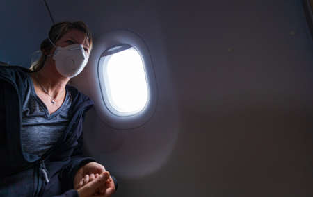 Caucasian Woman woman with protecting N95 face mask Editoriali