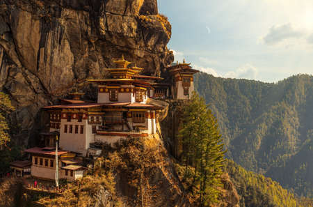 The world famous Tigers Nest Monastery or Taktshang Goemba in Bhutan Archivio Fotografico