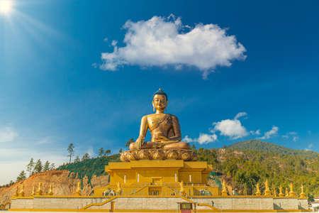 Giant golden Buddha sitting in a shell - Thimphu, Bhutan