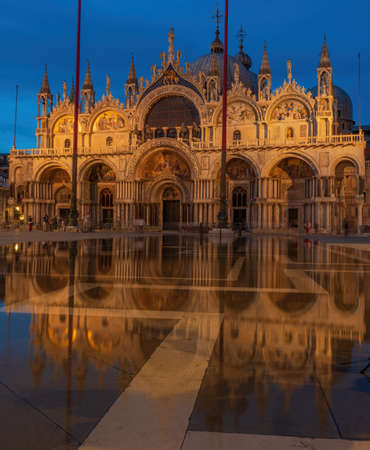Night over St. Marks Cathedral and square in Venice, Italy