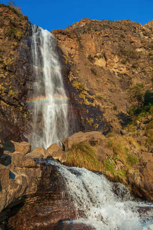 Beautiful Waterfall with rainbow in Lesotho
