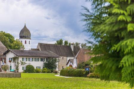 Frauenchiemsee, Germany - August 31, 2020: Frauenwörth monastery on Frauenchiemsee island