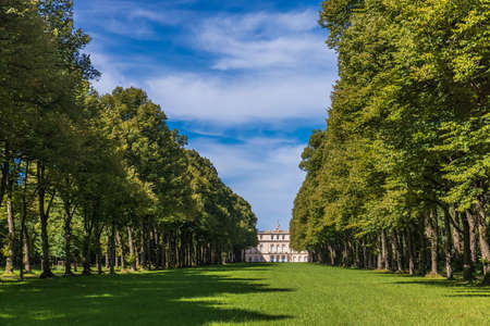 HERRENINSEL, GERMANY - August 31, 2020: Herrenchiemsee Palace (New Palace), one of the most famous castles and the largest of King Ludwig II.