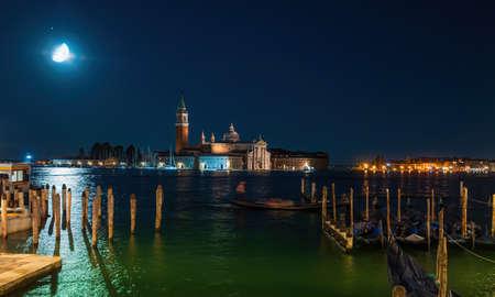 San Giorgio Maggiore and Grand Canal by night Venice - Italy Archivio Fotografico