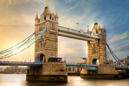 Tower Bridge in London with sunset, UK Archivio Fotografico