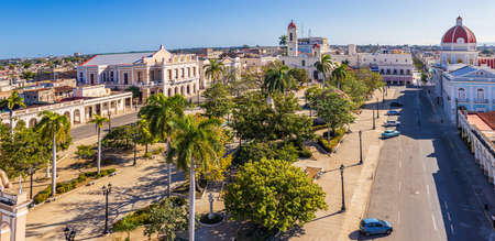 Jose Marti park with Town Hall and Cathedral of the Immaculate Conception, Cienfuegos - Cuba