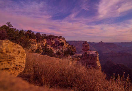 Beautiful Landscape of Grand Canyon in the moonlight Imagens