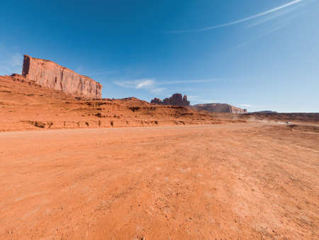 Wide angle view of Monument Valley Navajo Tribal Park, Utah