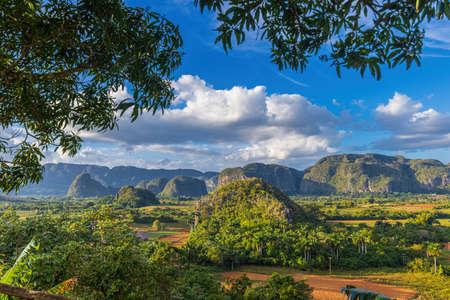 Beautiful view of teh hummocks of valley of Vinales, Cuba