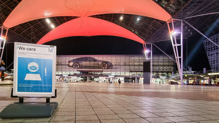 MUNICH, GERMANY - FEB 26, 2021: In 2020 Munich Airport counted only 11,1 million passengers, a decline of 76,8 % while flight movements went down to 147 million, a decline of 64,8 %.