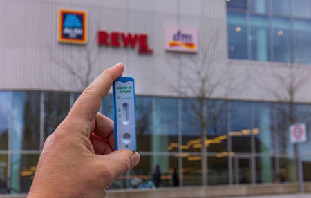 MUNICH, GERMANY - FEBRUARY 27, 2021: Supermarkets in Germany are planing to sell COVID-19 Rapid Diagnostic Test (RDT).
