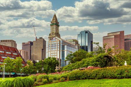 Skyline seen from Christopher Columbus Park in Boston, Massachusetts