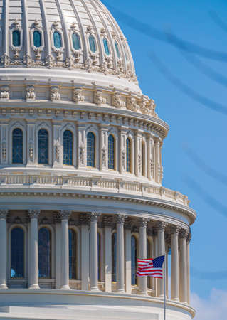 Close-up of the Cupola of the United States Capitol Building in Washington DC, USA