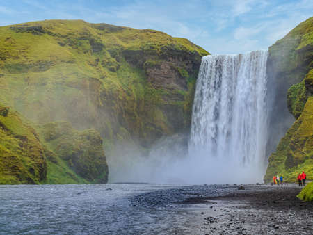The famous Skogafoss waterfall in Iceland