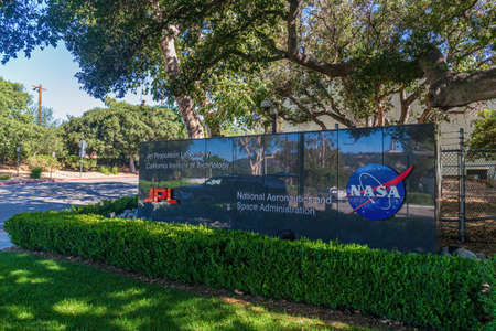 NASA and JPL logo at the entrance to the Space Flight Operations Facility