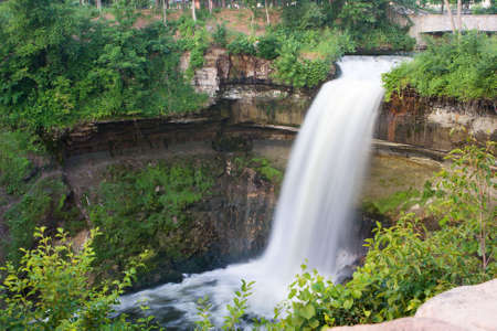 Beautiful waterfall at Minnehaha Falls in Minnesota. photo