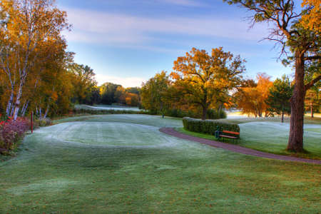 Octobers Fall Colors at the Golf Course. Imagens