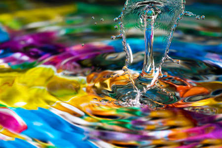 Macro of colorful abstract water drop creations. Stock Photo