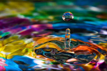 Macro of colorful abstract water drop creations. Foto de archivo
