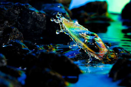 Macro of colorful abstract water drop landscapes.