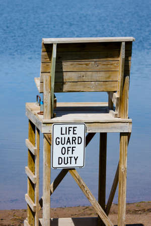 Life Guard off Duty chair at the beach. photo