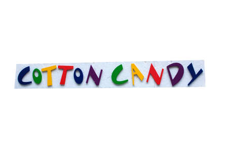 Colorful Cotton Candy Sign with white background. 免版税图像