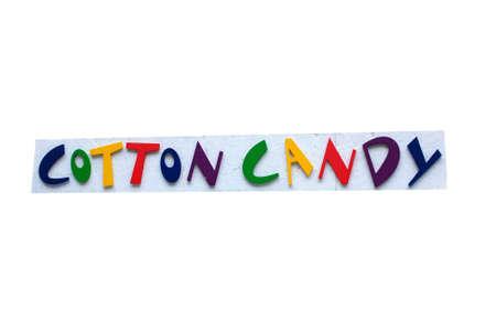 candy cotton: Signo de Cotton Candy colorido con fondo blanco.  Foto de archivo