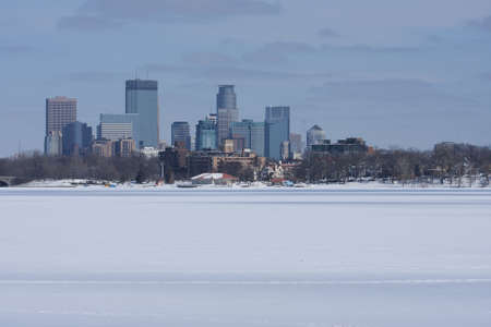 City of Minneapolis as viewed from a frozen lake.